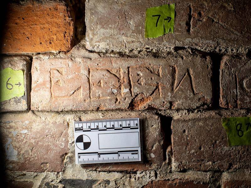 Graffiti engraved by soldiers on a Hobart military prison wall has been discovered 150 years later.